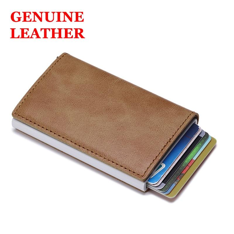 Genuine Leather Men Wallet Rifd Card Holder For Men Id Card Holder Short Male Card Wallet Bank Cards Purse Cow Leather Money Bag