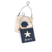 Decoration Crafts Starfish-Shell Display Beach-Sign Wooden Mediterranean-Style Pendant