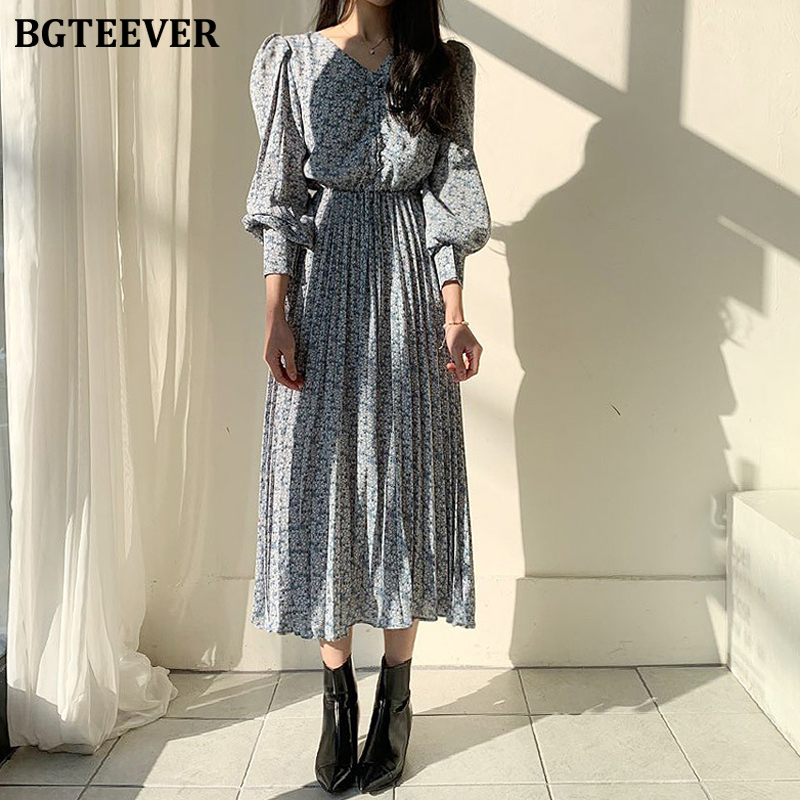BGTEEVER Vintage Lantern Sleeve Ruched Women Dress V-neck Floral Print Pleated Dress Female A-line Chiffon Dress femme 2020