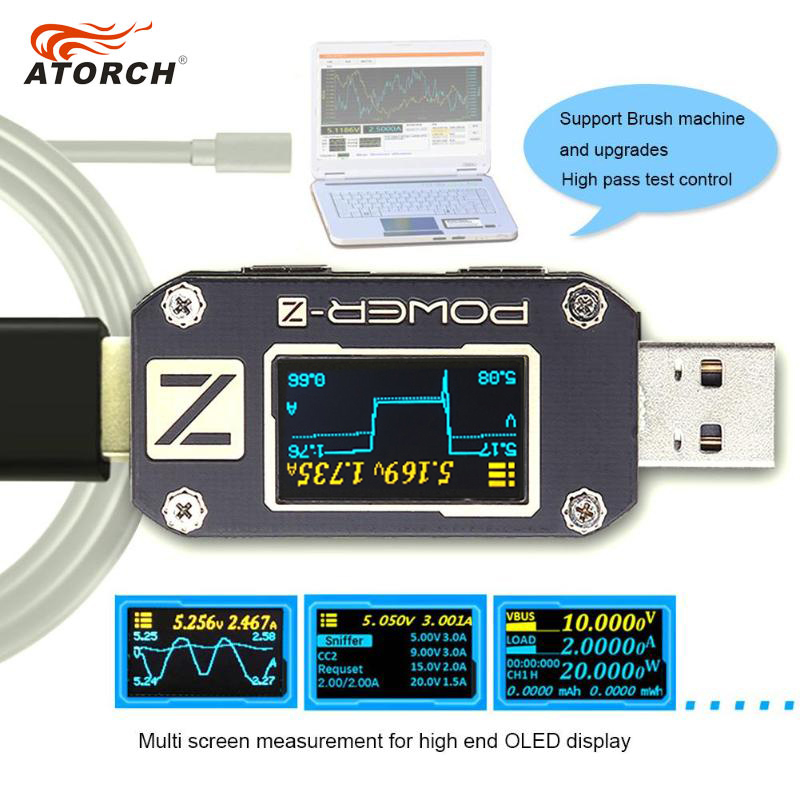 ATORCH Power-Bank-Detector Charger Usb-Tester Volt-Meter POWER-Z Type-C Voltage-Current-Ripple