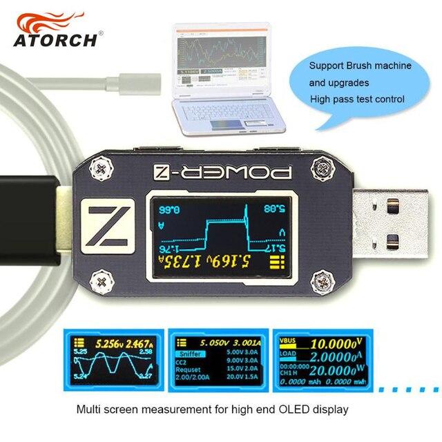 ATORCH POWER Z USB test cihazı tip c PD QC 3.0 2.0 şarj gerilim akım dalgalanma çift tip c KM001 volt metre güç banka dedektörü