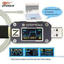 Atorch POWER-Z teste usb tipo-c pd qc 3.0 2.0, carregador de tensão rasgamento duplo tipo-c km001 volt medidor de potência detector,