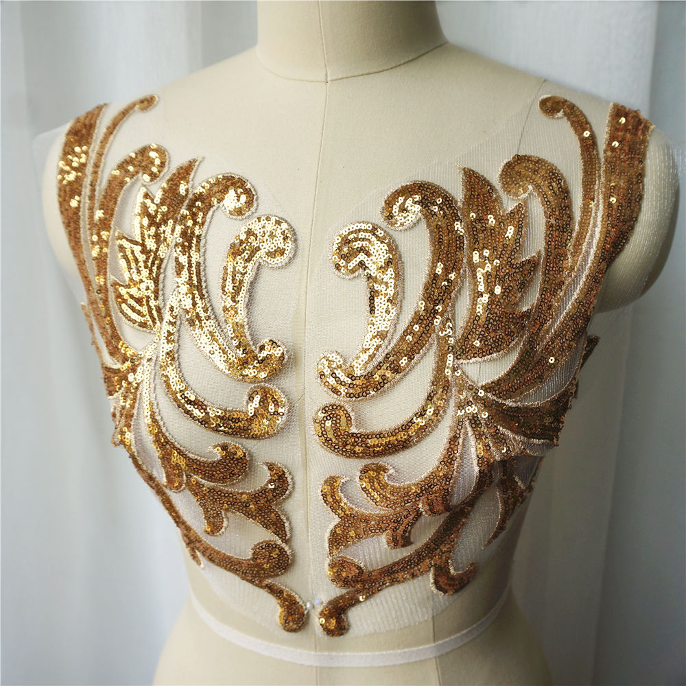 1sets 42CM Gold Sequin Lace Fabric Appliques Sew On Patches Mesh Wedding Decoration Handmade Embroidery For Bride Evening Dress