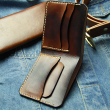 Pure Hand Sewn Handmade Leather Wallet Men Breif Manmade Bifold Men Wallets Hand Stitching Men #8217 s Leather Wallet cheap Okli-Rsoe Genuine Leather Cow Leather portemonnee Interior Compartment Note Compartment Card Holder Short 11 5cm Vegetable tanned leather