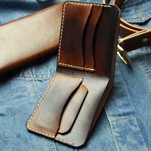Pure Hand Sewn Handmade Leather Wallet Men Breif Manmade  Bifold Men Wallets Hand Stitching Men's Leather Wallet