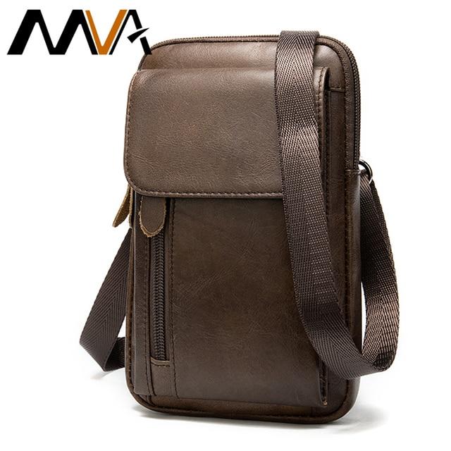 MVA Genuine Leather Mens Shoulder Bags For Men Crossbody Bags Male Messenger Bag Men Leather Handbag Phone Bags Mens Small 899