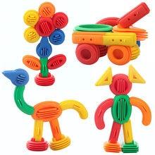 Yeni çocuklar komik plastik yapı taşları 3D inşaat oyuncak bebek DIY ara bağlantı blokları erken eğitici oyuncaklar çocuklar için