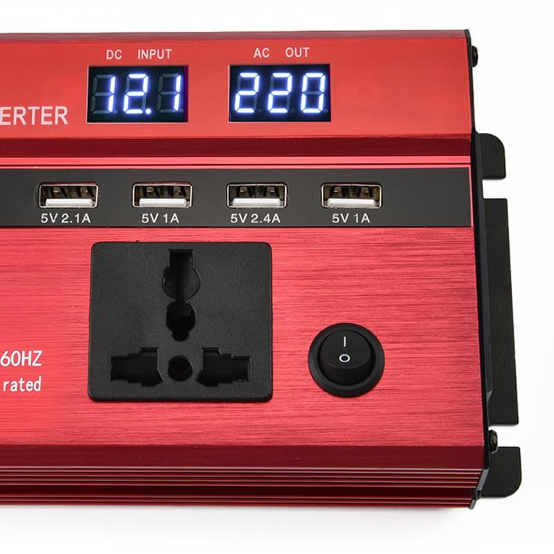 Chargeur d'inverseur de puissance de voiture 4000w 5000w 6000w DC 12 V/24 V à AC 220V convertisseur d'onde sinusoïdale Interfaces adaptateur de transformateur de tension