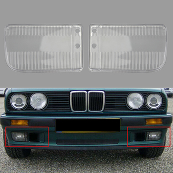 Areyourshop 2pcs Front Bumper Fog Lights Clear Plastic Lens For BMW E30 318i 318is 1982-1991 Car Auto Accewssories Part image