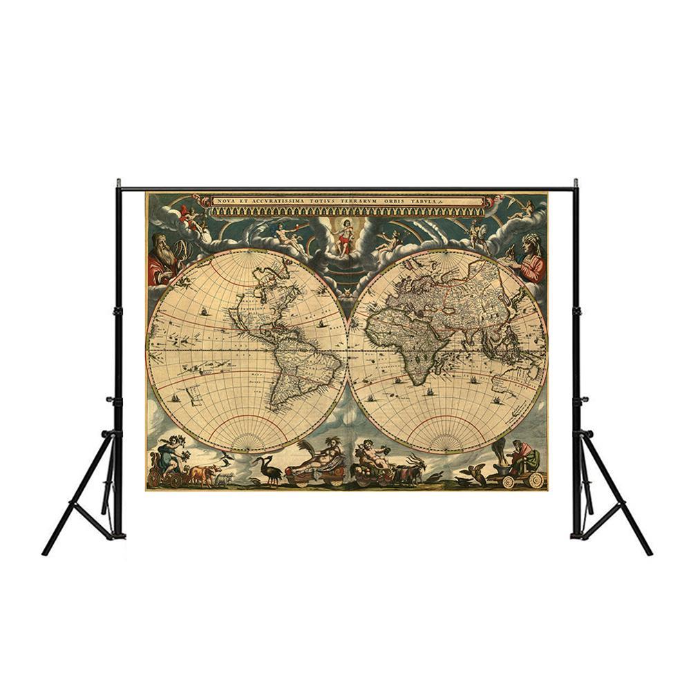150x225cm Medieval Map Latin Portuguese Non-woven Waterproof Map Retro Style Decorative Map