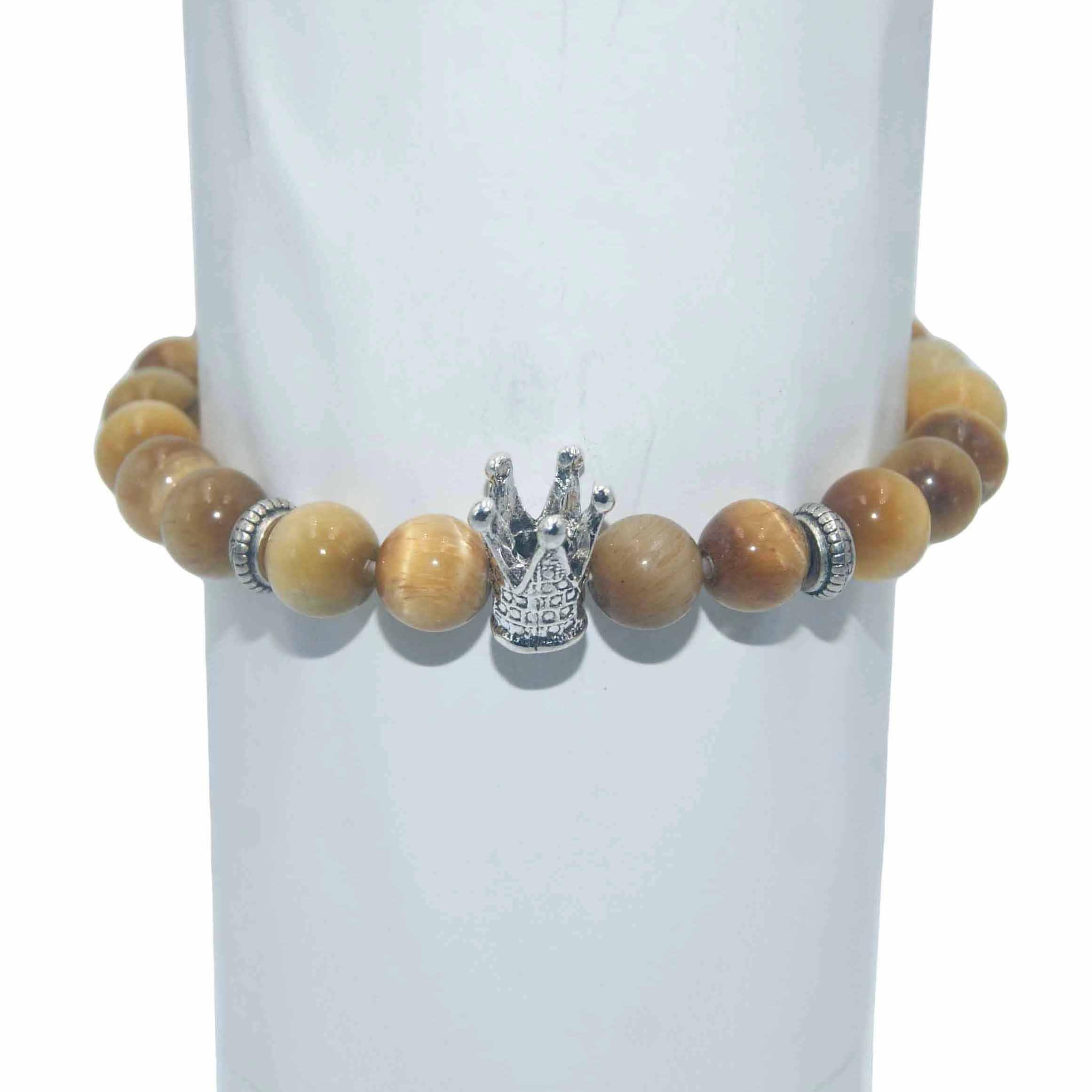 8 MM moda srebrzyste korona Charm bransoletka mężczyzna kobiet lazuryt ametysty agaty tygrysie oko kamień koraliki bransoletka joga biżuteria