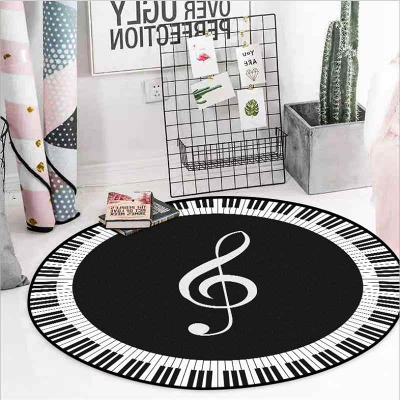 Area Rug For Living Room Black And White Music Symbol Pattern Non Slip Round Carpet Rugs For Children Rooms Floor Mat
