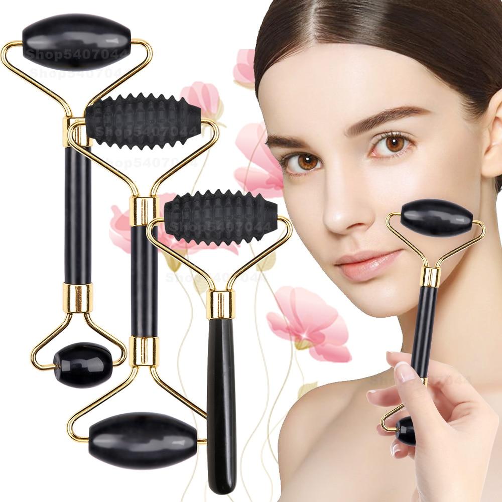 Rouleau de massage en Jade pour le visage, outils de soins de la peau du visage, grattoir à Gouache naturelle, corps, dos, beauté, ensemble de rouleaux amincissants