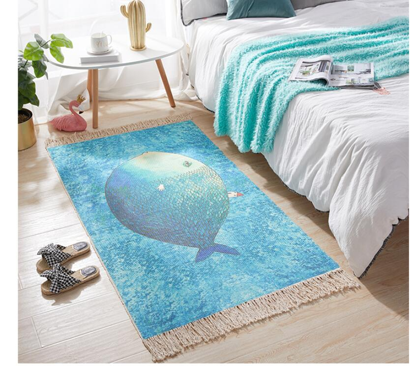 Nordic Thick Home Decorative Cotton Linen Hand Woven Rugs Blue