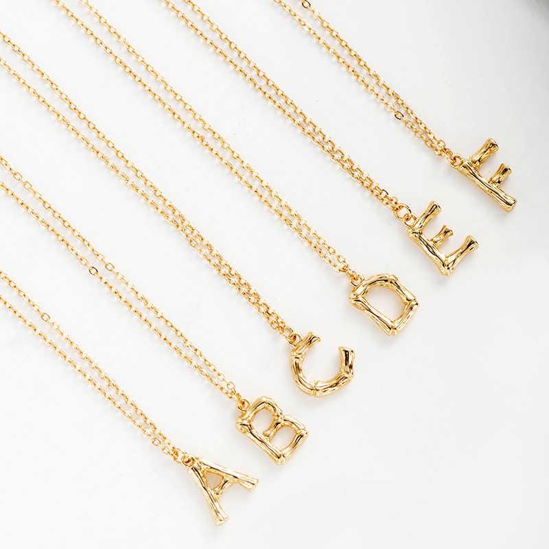 Gorączka i darmowe popularne sprzedaż błyszczące złoto młotkiem naszyjnik z inicjałami alfabet A-Z naszyjnik listowy inicjały nazwa naszyjnik dla kobiet najlepszy prezent