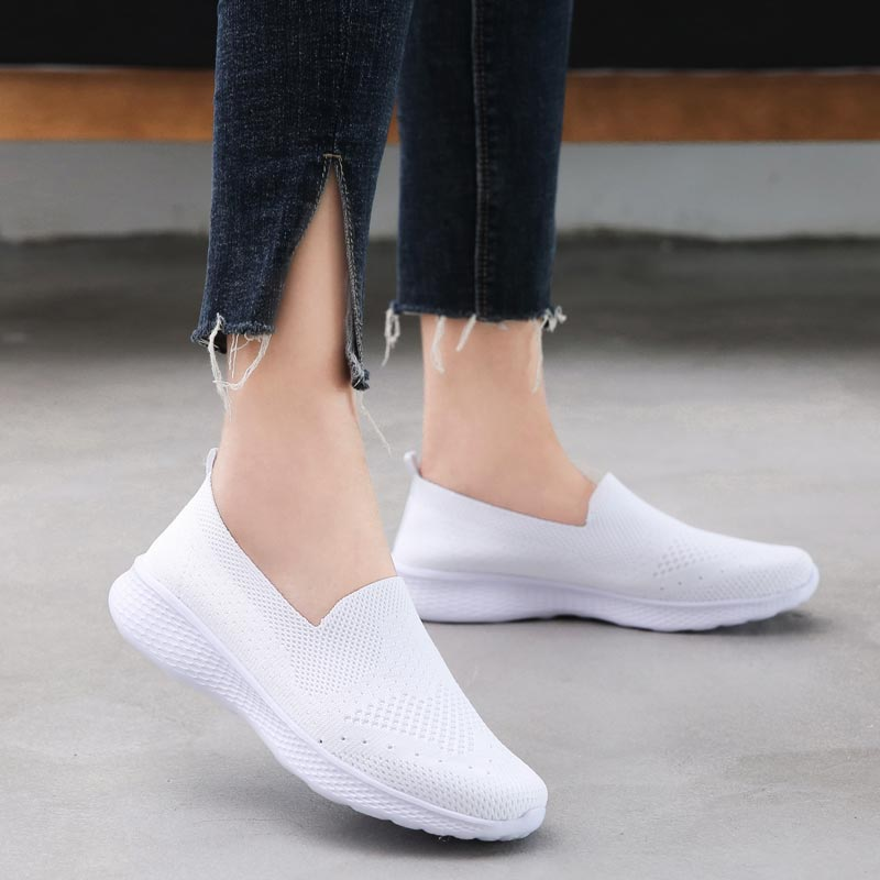 Summer Slip On Sneakers Women's Socks Trainers Shoes Womens Sport Shoes Woman Running Shoes Women Sports Shoes 2019 White A-413