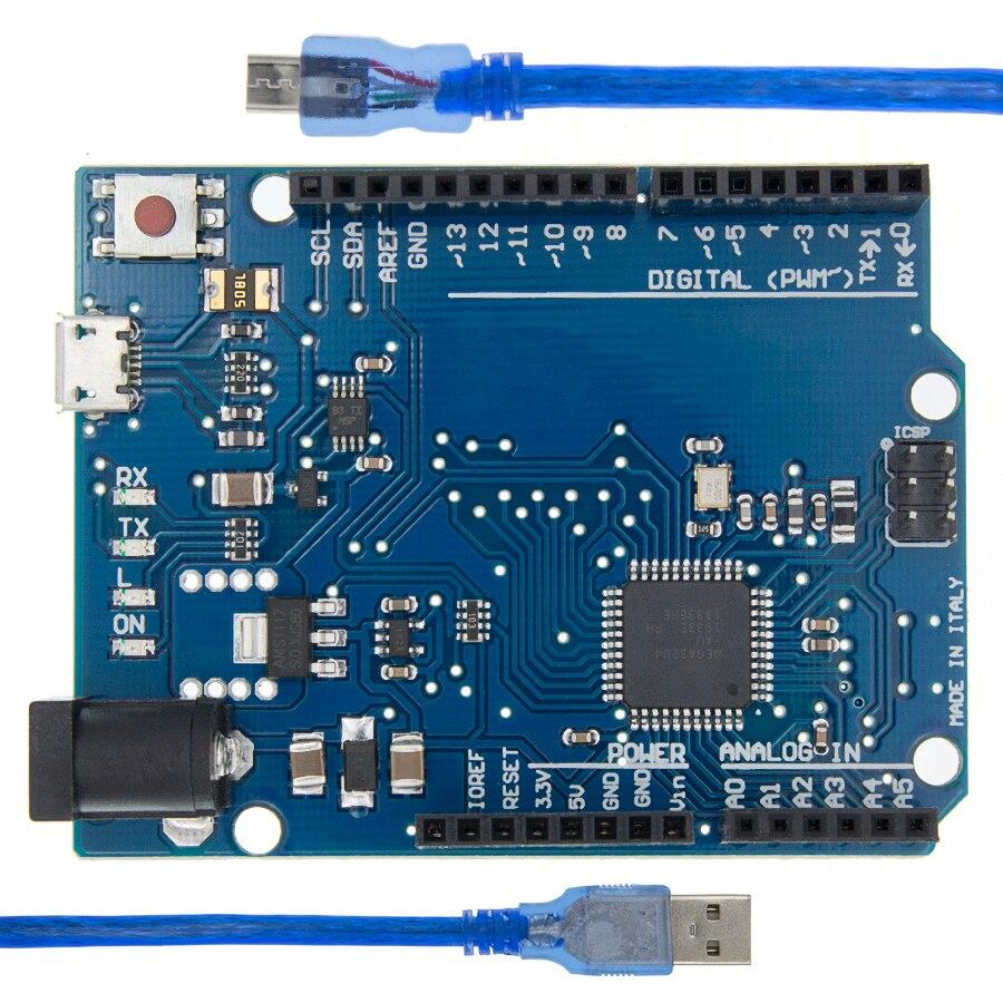 Макетная плата Leonardo R3 + USB кабель ATMEGA32U4 для Arduino