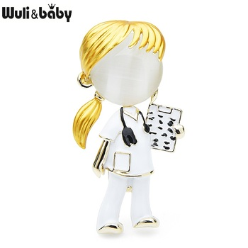 Wuli&baby New Opal Enamel Doctor Nurse Brooches Women Hospital Office Brooch Pins Gifts