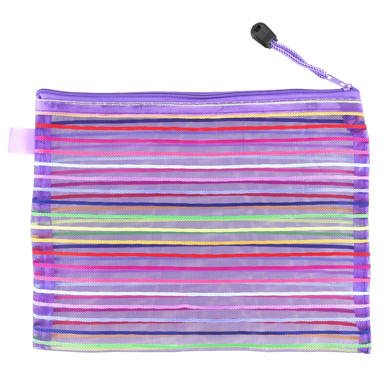 A5 Nylon Stripe Zipper Closure Documents Mesh File Bag - Purple