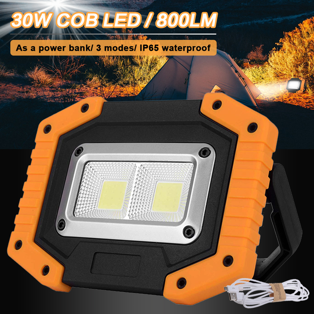 COB 30W 800LM LED Flood Light Outdoor Portable Waterproof IP65 Floodlight LED Light For Hiking Camping Emergency Car Repair