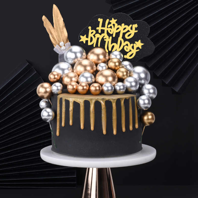 5 Pcs/lot Lovely Gold Silver Ball Cake Topper Birthday Cup Cake Decoration Baby Shower Kids Birthday Party Wedding Favor Supplie