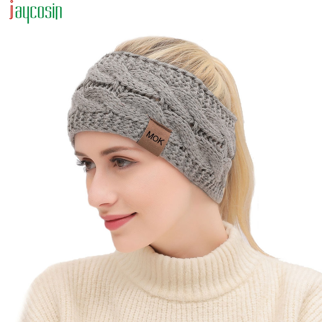 JAYCOSIN Solid Cadual Wool Knitted Headwear Autumn Winter Fashion Hair Band Sports Headband Headdress Gorros De Punto Hot Sales