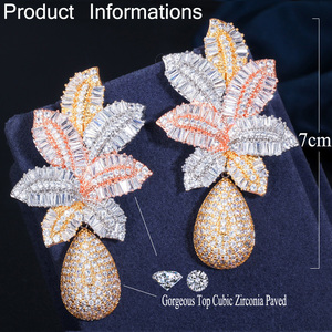 Image 5 - CWWZircons 3 Tone Gold Luxury Large Leaf Drop Flower Micro Cubic Zirconia Paved Naija Wedding Party Earring for Women CZ644