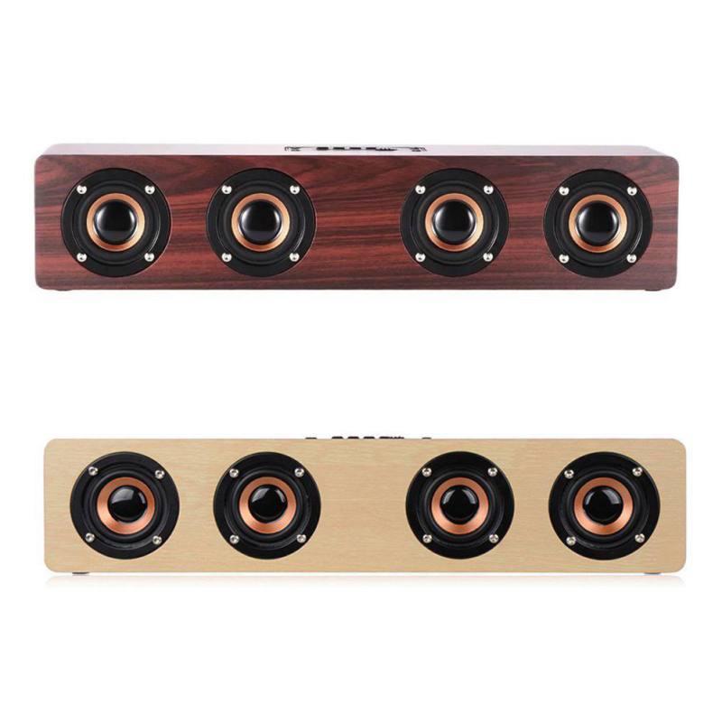 Rétro en bois Bluetooth haut-parleur Portable HIFI Subwoofer lecteur mp3 Support TF carte avec 3000mAh batterie pour téléphone PC ordinateur Portable
