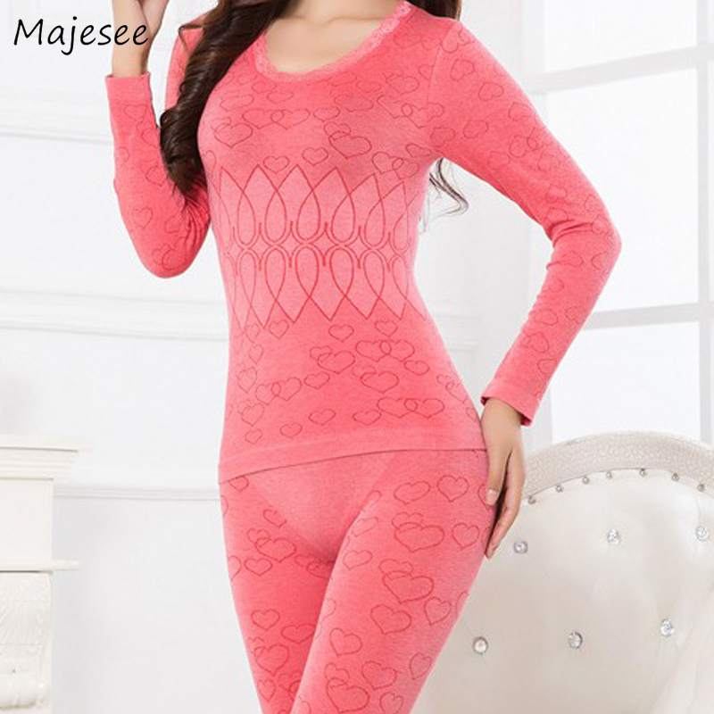Thermal Underwear Women Solid Slim Elegant Colorful Daily Bodysuit Heart Pattern Sweet Comfortable High Quality All-match Casual