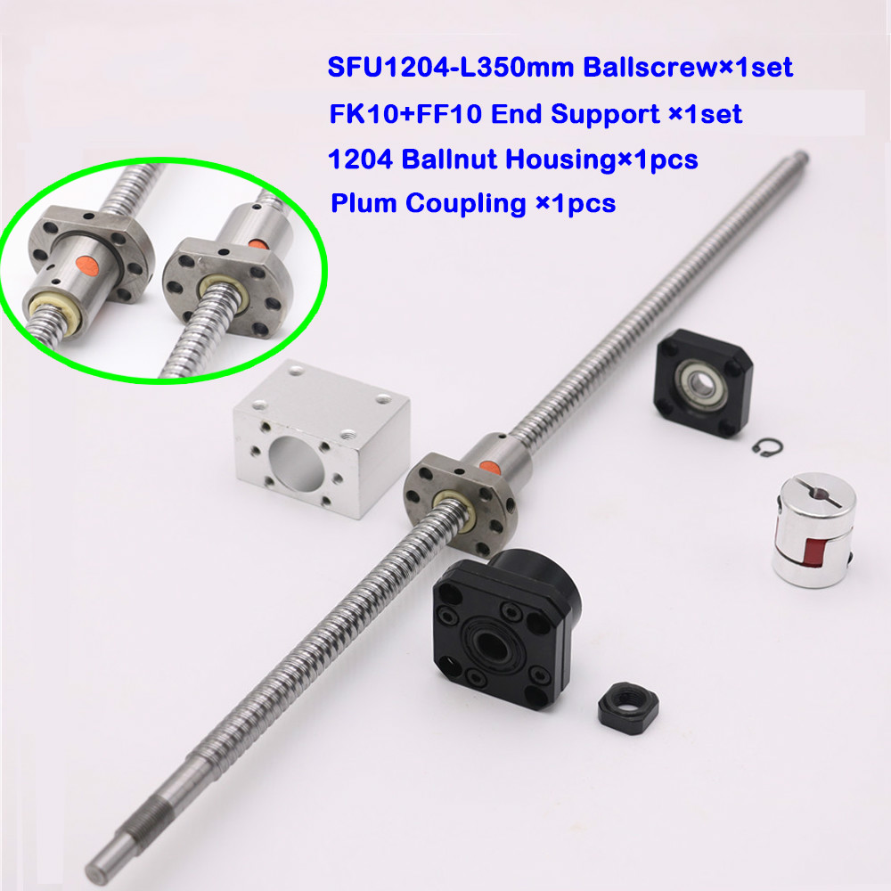 SFU1204 Ball Screw Set L350mm SFU1204 Ballnut Nut Housing <font><b>FK10</b></font> FF10Fixed Floated End Support Plum Coupling for CNC Machine Parts image
