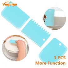 VOGVIGO 3Pcs/lot Cake Scraper Edge Decorating Cooking Cutters Set Comb & Icing Smoother for Bread Dough Fondant Tool(China)
