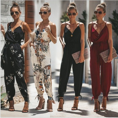 bodysuit women rompers womens jumpsuit summer 2020 printed sexy backless v-neck jumpsuits sexy women clothes vestidos BLK9521
