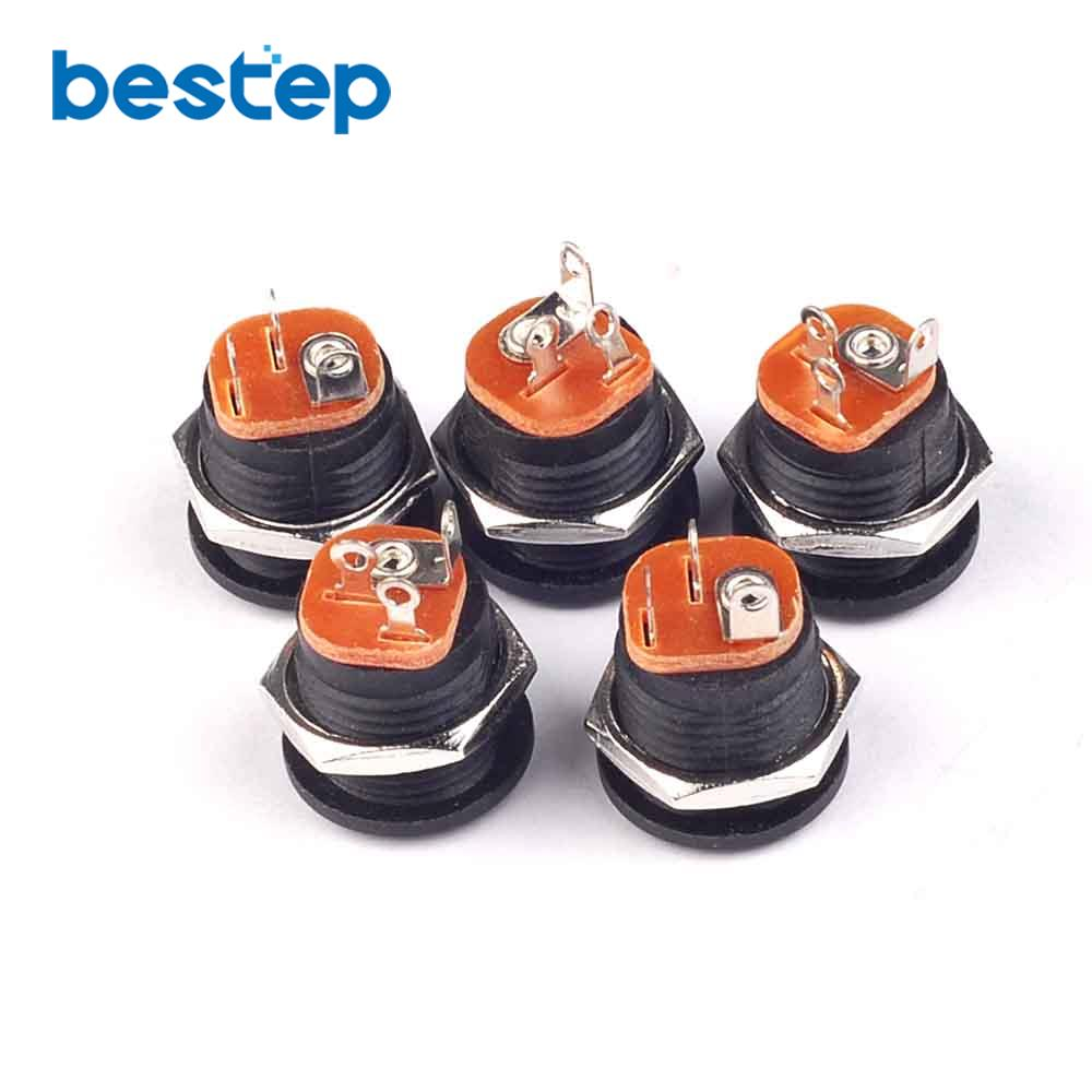 10PCS DC-022 5.5-2.1 5.5*2.1mm Round Hole Screw Nut DC Power Socket
