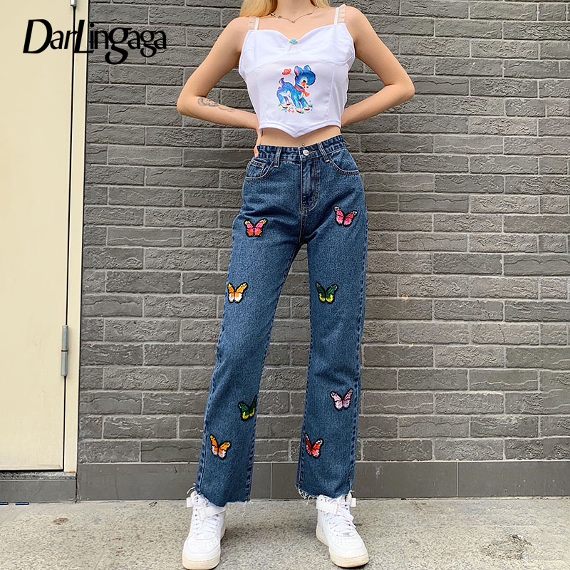 Darlingaga Streetwear Butterfly Embroidery Denim Pants Straight Jeans Casual Slim High Waist Pants Trousers Pantalon Femme Capri