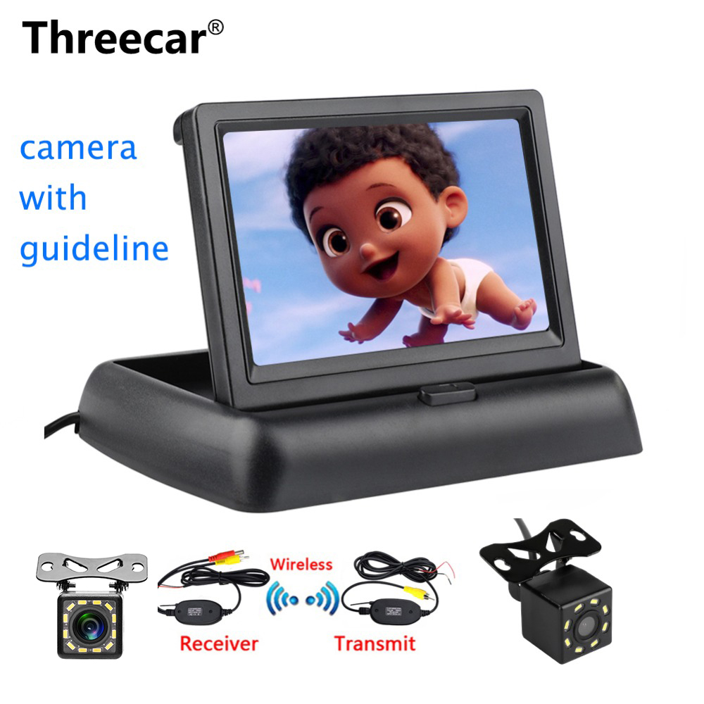 Threecar 8LED CCD Waterproof Vehicle Camera Universal HD Car Rear View Back Up Reverse Parking Camera + 4.3