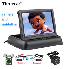 Threecar 8LED CCD Wasserdicht Fahrzeug Kamera Universal HD Auto Rückansicht Back Up Reverse Parkplatz Kamera + 4.3