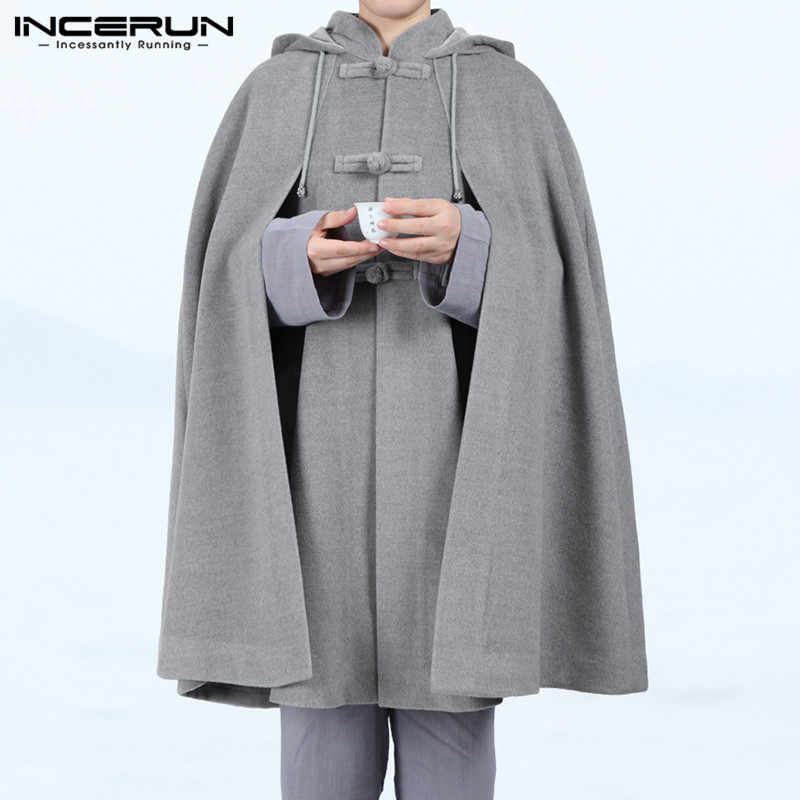 Incerun Mannen Mantel Jassen Vintage Hooded Cape Effen Poncho Losse Button Fleece Winter Casual Mens Trench Streetwear Jassen 2020