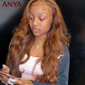 Ани, оранжевый, коричневый, Цветной объемная волна кружева передний парик человеческих волос парики из прозрачного кружева бразильские для...