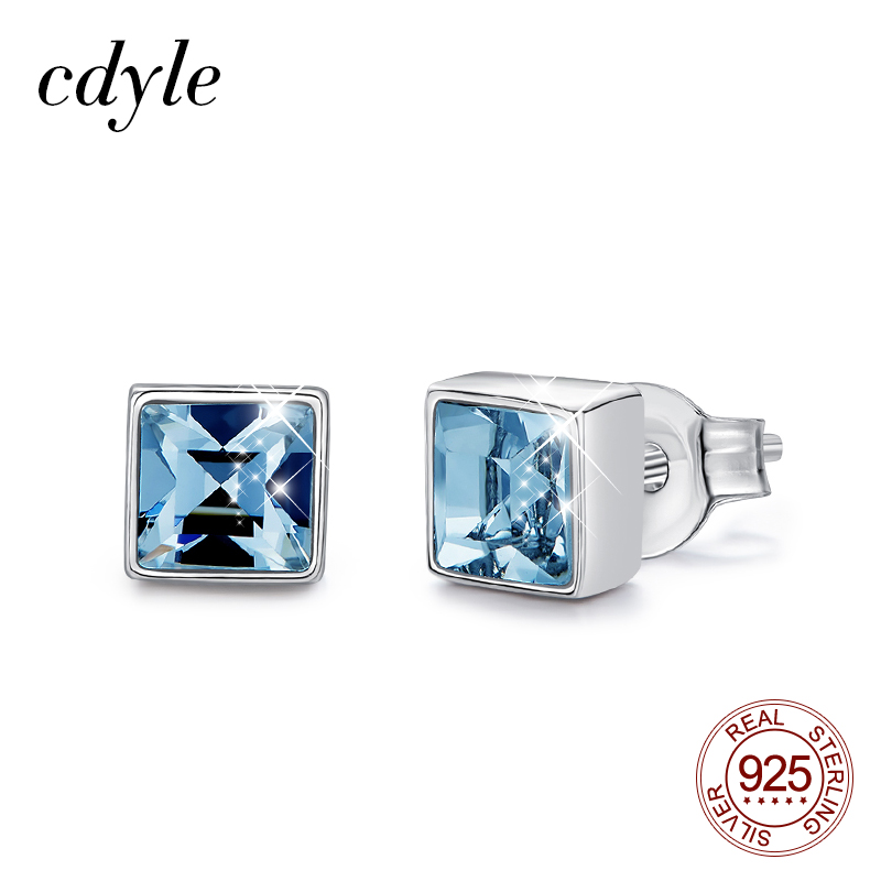 Cdyle Korean 925 Sterling Silver Women's Earrings Square 1.5cm Natural Sky Blue Crystal Stud Earrings Fashion Jewelry(China)
