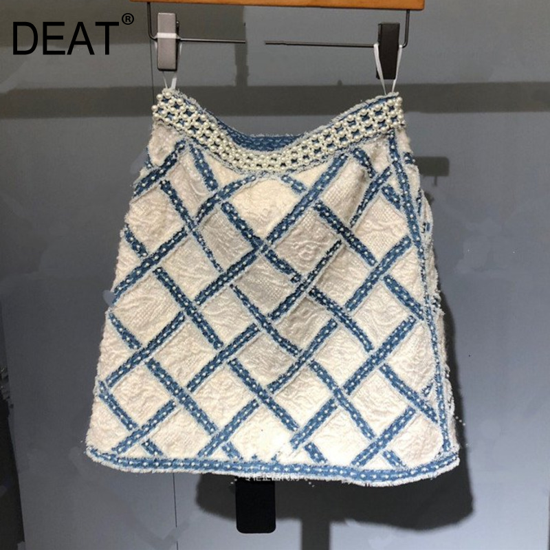 DEAT 2020 New Summer Fashion Women Clothing High Waist Plaided Mini Length Denim Pearl Beading Sexy Skirt WL26505L