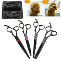 7.0 Inch Pet Scissors For Dog Grooming Dogs Shears Hair Cutter Straight thinning Curved Scissors 4pcs Set and Comb