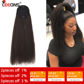 цена на Leeons Cheap Synthetic Wrap Around Long Kinky Straight Hair Ponytail Wig Clip Hair Extensions Natural Kinky Afro Puff Ponytail