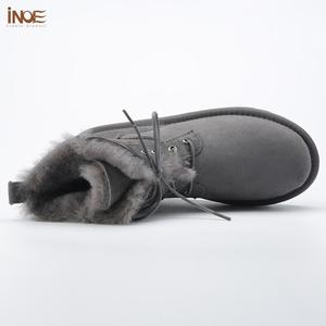 Image 2 - INOE Sheepskin Leather Wool Fur Lined Men Lace Up Short Ankle Winter Snow Boots For Man Casual Shoes Waterproof Black Brown Grey