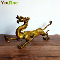 Classical bronze brass dragon statue Feng Shui lucky copper dragon desktop decoration home decoration hotel high end art