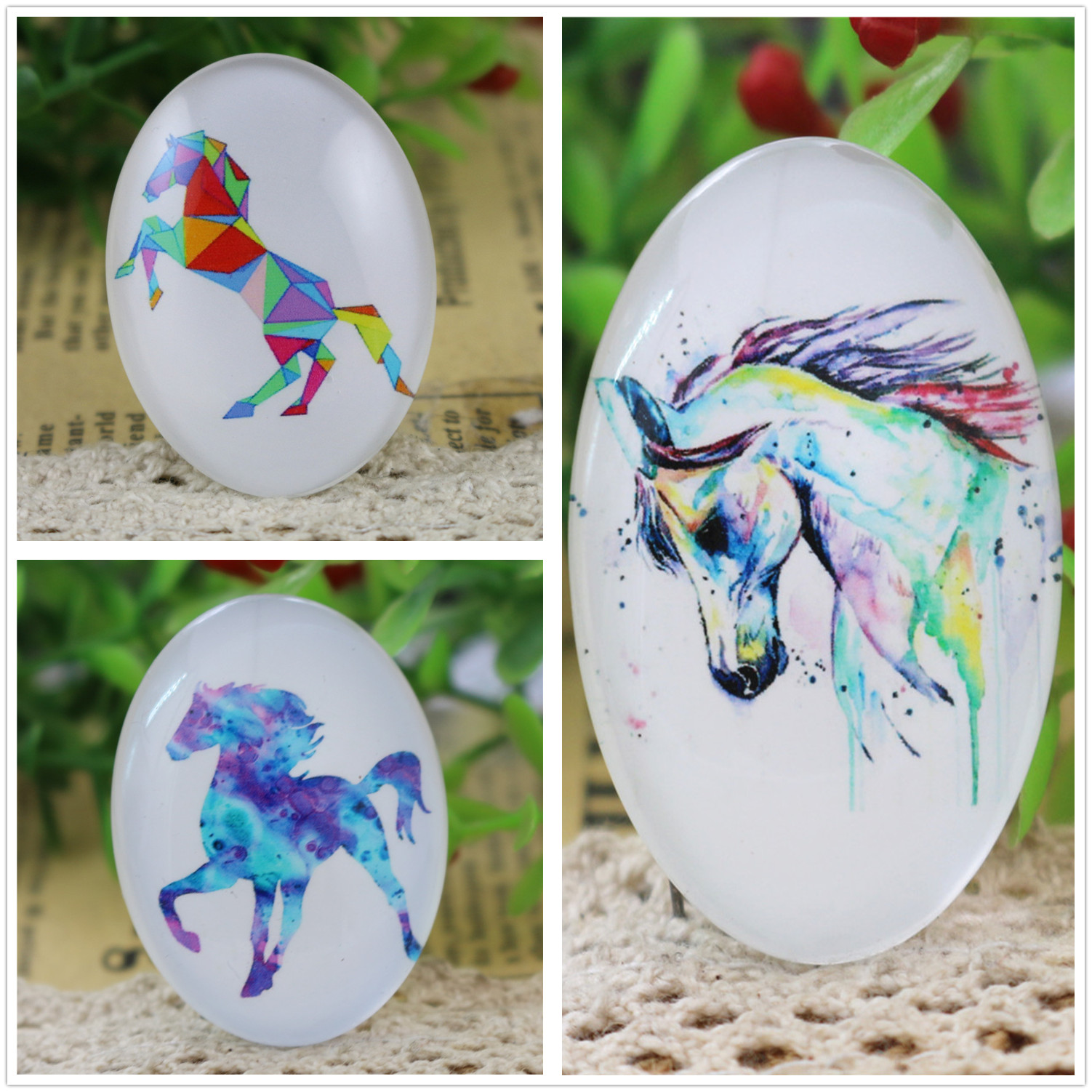 2pcs 30x40mm New Fashion Color Dream Horse Handmade Photo Glass Cabochons Pattern Domed Jewelry Accessories Supplies-