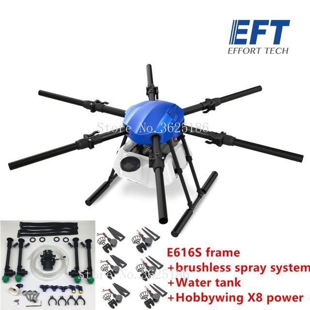 EFT E616S 16L الزراعية طائرة دون طيار للرش E616 616S 16 كجم للطي إطار قاعدة العجلات فرش مضخة مياه رذاذ X8 نظام الطاقة عدة 2