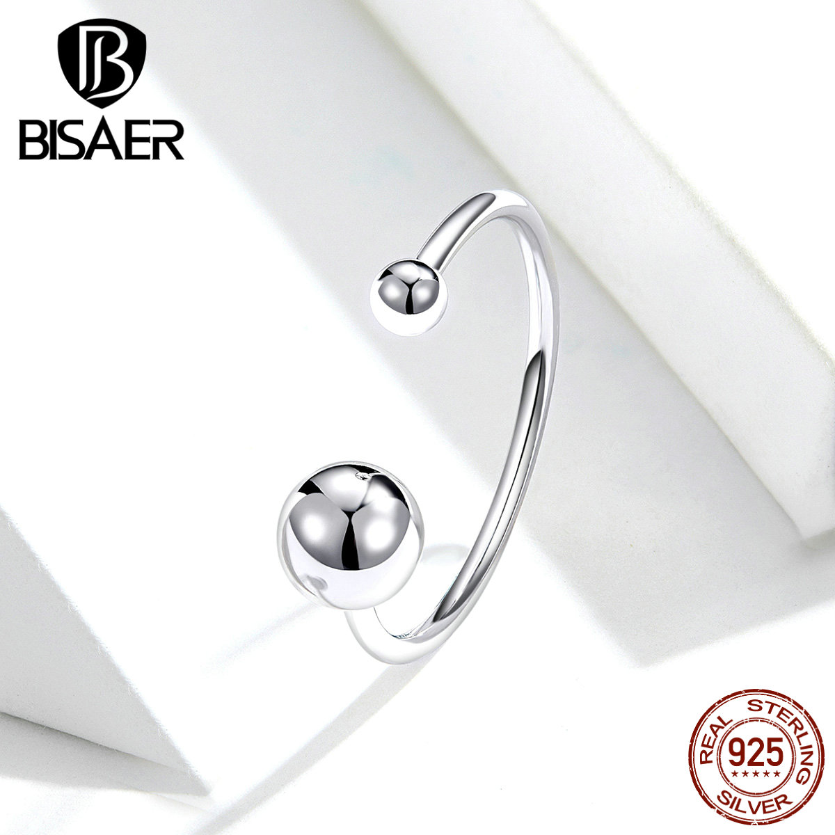 Geometric Rings BISAER 925 Sterling Silver Simple Round Adjustable Finger Rings For Women Sterling Silver Jewelry ECR575