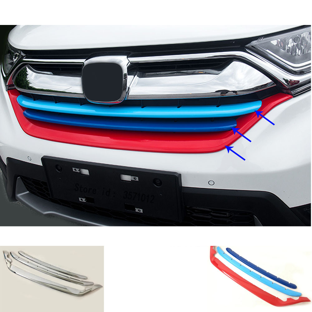 Car Cover Protection Detector Trims ABS Chrome Front Up Grid Grill Grille Racing Bumper For Honda CRV CR-V 2017 2018 2019
