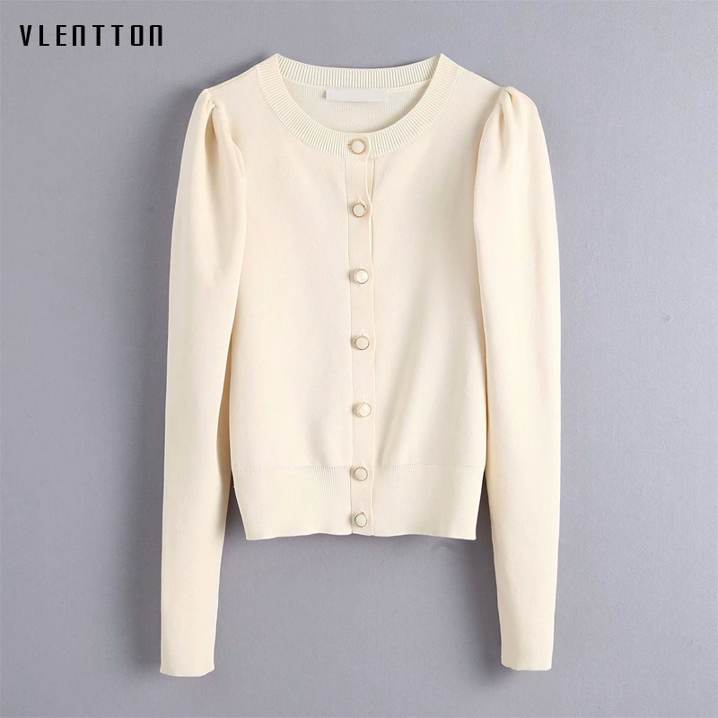 2019 Autumn Winter Women Knit Cardigans Coat Casual Solid O-Neck Long Sleeve White Short Knitted Sweater Coat Female Jacket Tops
