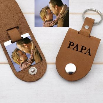 Personalised Photo Keyring,Custom Keychain,Photo Keychain Gift for Him,Fathers Day Birthday Dad,Dad